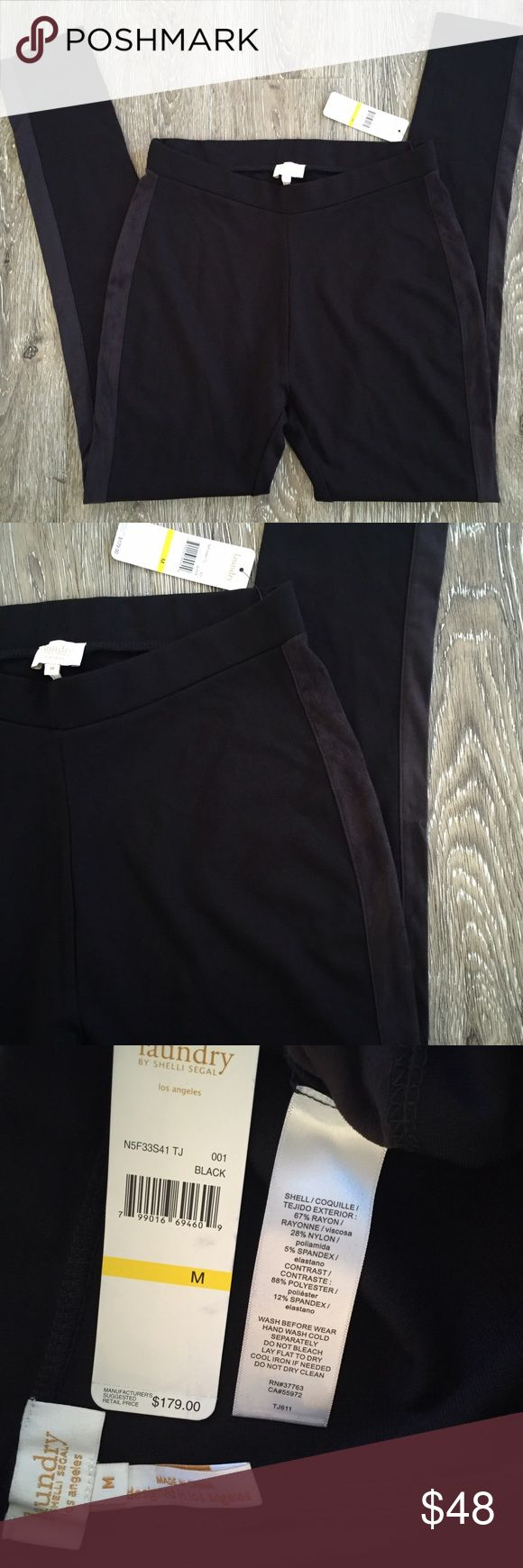 Laundry by shelli segal leggings Laundry by shelli segal black and charcoal leggings. The charcoal stripe on the sides is a faux suede. Nwt size medium Laundry by Shelli Segal Pants Leggings