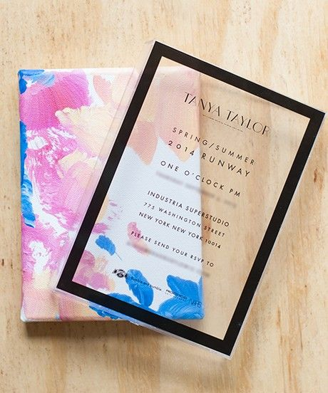 Transparent, modern, minimal wedding invitation design inspiration from fashion designer Tanya Taylor
