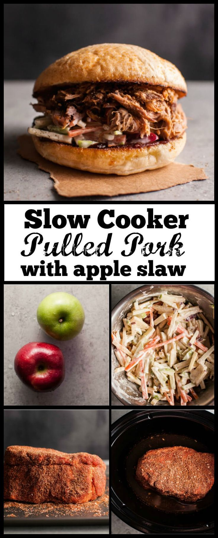 Tender, flavorful pulled pork, crunchy apple slaw, and your favorite BBQ sauce make this awesome sandwich a reality! If you're a pulled pork fan, you'll love this slow cooker pulled pork sandwich with apple slaw.