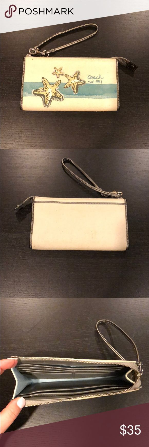 Coach Wristlet/Wallet Fun wristlet that could also be used as a wallet. Canvas material with leather trim. Six card slots inside as well as three larger slots for cash etc. Back has a large pocket as well. Large enough to fit average size cell phone and other necessities. Good condition. *Matches with purse and small makeup bag - listed separately* Coach Bags Clutches & Wristlets