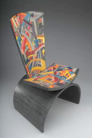 Mind Slice Jay Stanger :: Barrel-arched chair with mixed marquetry on seat and back. Spectacular piece!