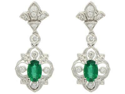 EARRINGS, 18K white gold with 2 emeralds 0,46 ctw, 28 brilliant cut diamonds 0,18 ctw, TW(G)/VS, pushback #earrings #emeralds #jewelry