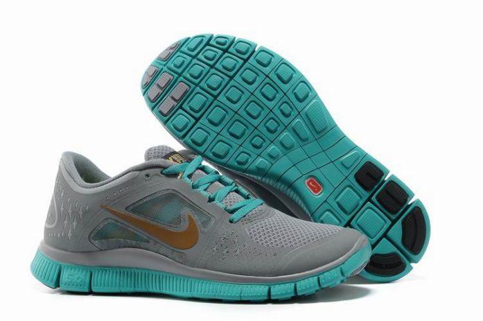 2zKj3 Nike Free Run 3 Men's Running Shoes Grey/Jade/Gold