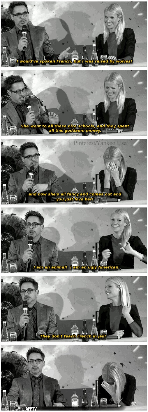 Iron Man 3, Paris press conference... Robert Downey Jr on Gwyneth Paltrow answering all the questions in french.
