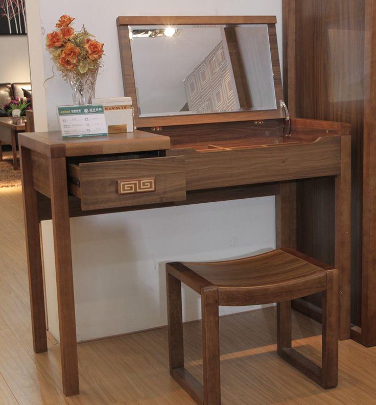 Built makeup mirror folding wood dressing table dressing table mirror flip makeup vanity tables turn one desk desk Dresser