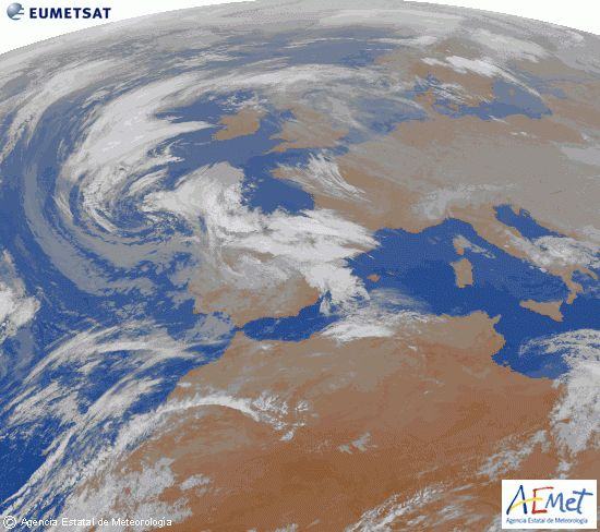 El tiempo de lunes: Mucho viento en el norte y Pirineos. Precipitaciones en casi todo el país. Frió en el interior.