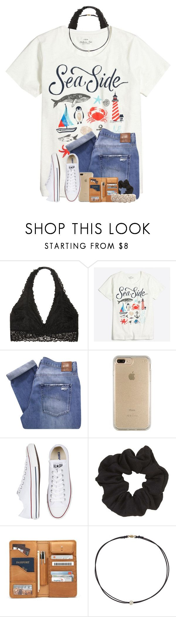 """QOTD: What's the last song you listened to?"" by jeh-shev ❤ liked on Polyvore featuring Victoria's Secret, J.Crew, Nobody Denim, Speck, Converse, Topshop, Dogeared and Swell"