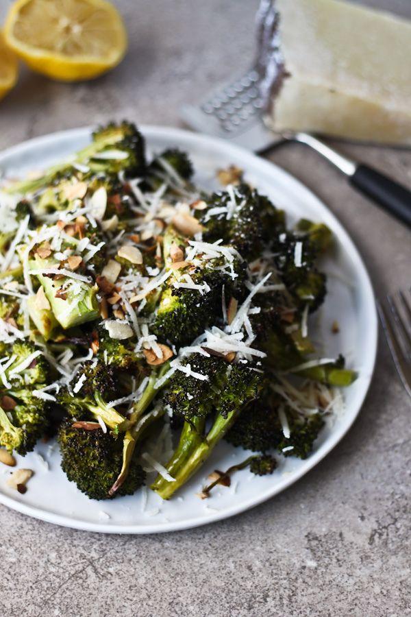 Roasted Broccoli with Toasted Almonds, Lemon & Pecorino Cheese | bloggingoverthyme.com