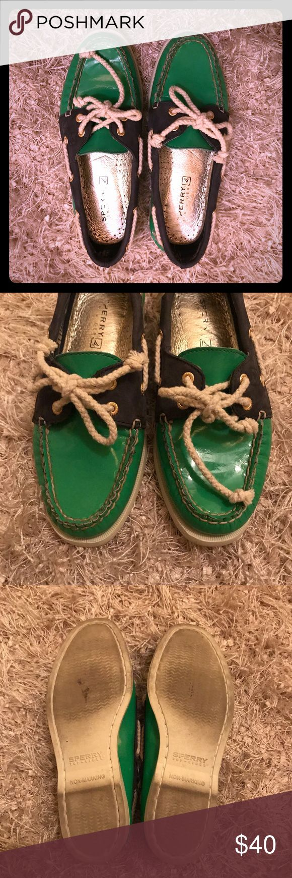 Green and Navy Sperry Boat Shoes Size 6. Green and navy blue boat shoes. In great condition. Sperry Shoes Flats & Loafers