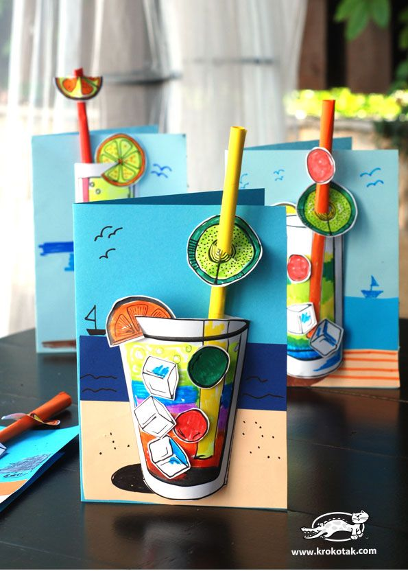 #knutselen, kinderen, basisschool, zomer, drankje, cocktail, tutorial en template, Vaderdag, #craft, children, elementary school, summer, drink, template and tutorial