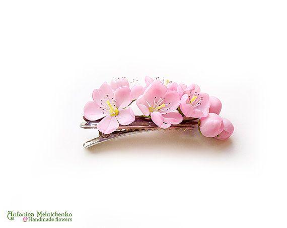 Hair clip Cherry Blossom  Polymer Clay Flowers