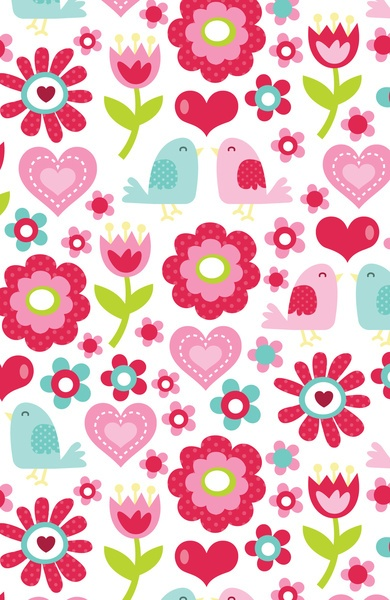 Retro Floral Love Birds Pattern Art Print