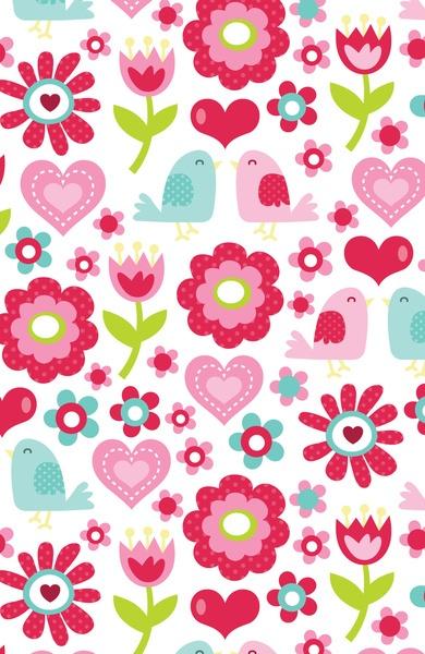 Retro Floral Love Birds Pattern Art Print