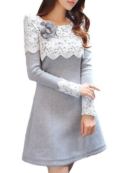 Lace Patchwork Absorbing Skater Dress #ClothingOnline #PlusSizeWomensClothing #CheapClothing #FashionClothing #womenswear #sexydress #womensdress #womenfashioncasual #womensfashionforwork #fashion #womensfashionwinter