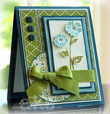 blue and green.Colors Combos, Cards Ideas, Beautiful Colors, Handmade Cards, Colors Combinations, Cards Layout, Paper Design, Make Cards, Paper Crafts