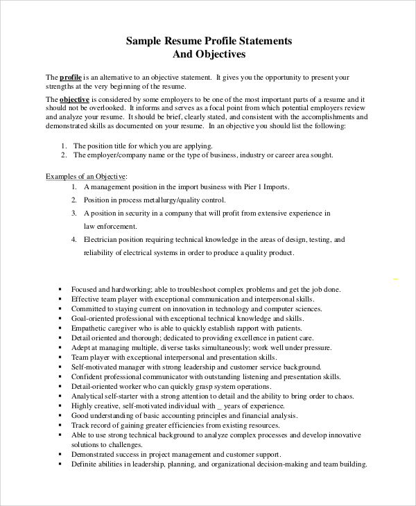 sample objective statement resume examples pdf top career writing - examples of profile statements for resumes