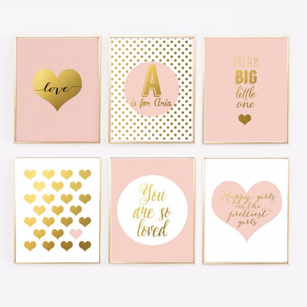 Pink and Gold Nursery Gallery Wall - Blush Pink Prints with personalized - Faux Gold Foil