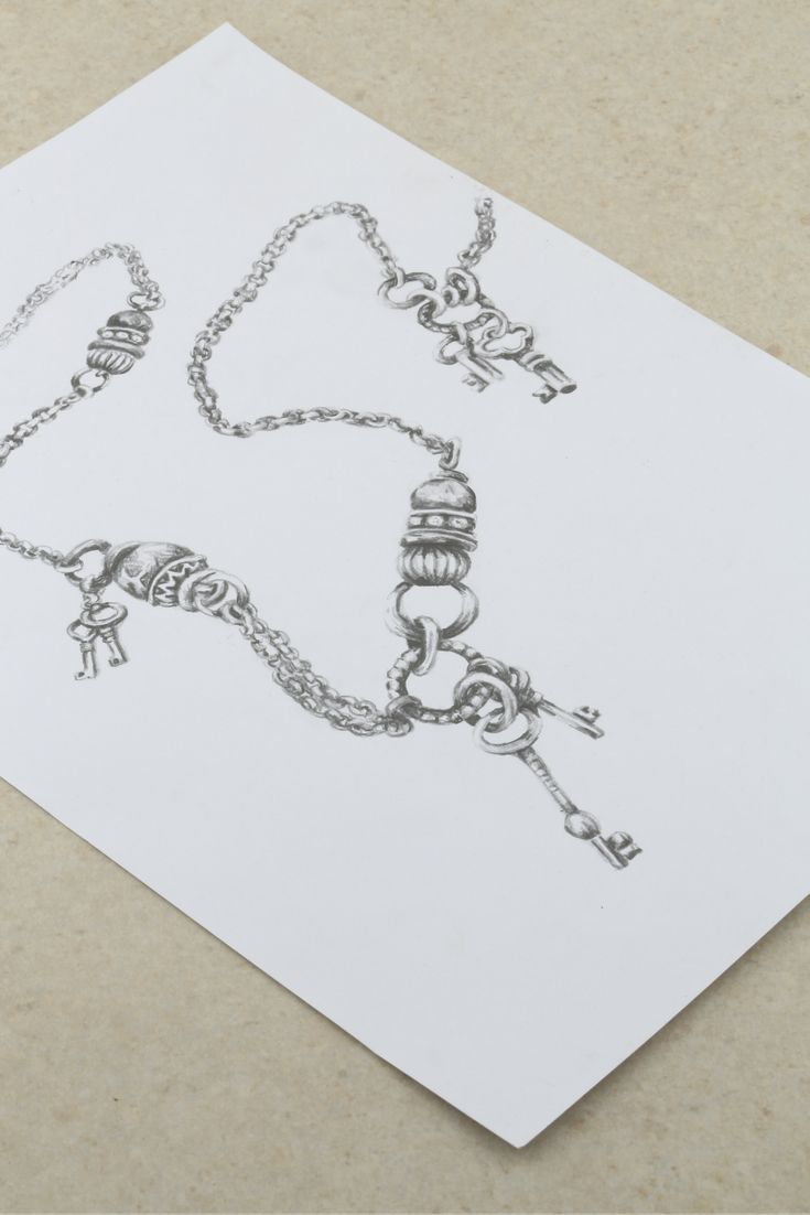 Design sketches of our Juliette Necklace