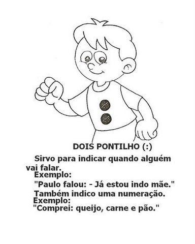 Contéudo das imagens: língua portuguesa: pontuação vírgula, ponto final, exclamação, interrogação e dois pontos.