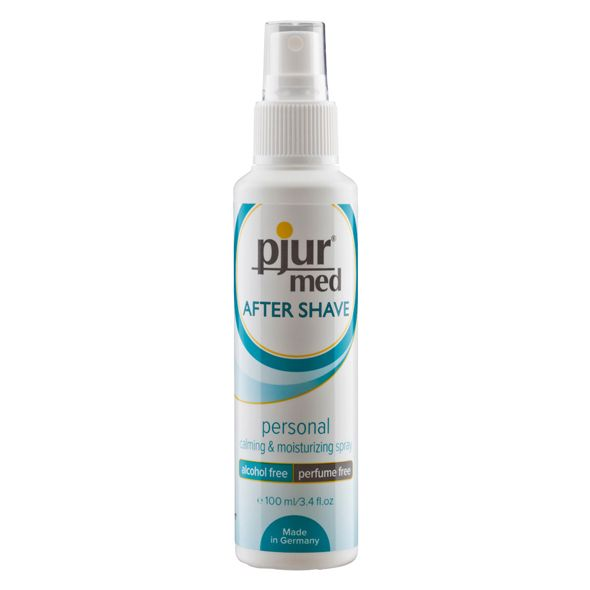 Calming and nourishing. Daily shaving of the axillary and intimate area can cause the skin to become sensitive, resulting in inflammations and small spots. pjur med After Shave personal calming & moisturizing spray has been developed to prevent this effect. It does not burn on the skin and it calms
