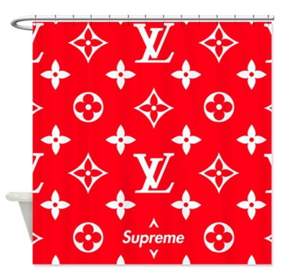 SUPREME x Louis Vuitton Red Shower Curtain measuring approximately 70 x 70  Softened polyester fabric shower curtain with twelve eyelets.