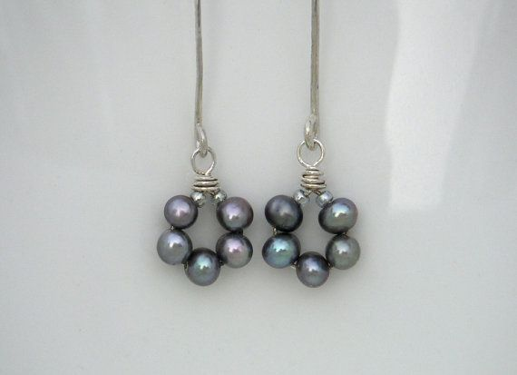Delicate pearl earrings Lavender freshwater pearl flower dangles Silver pearl drops Wire jewelry