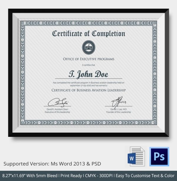 Certificate Of Completion Template Free Word Pdf Psd Eps  Certificate Of Completion Template Free