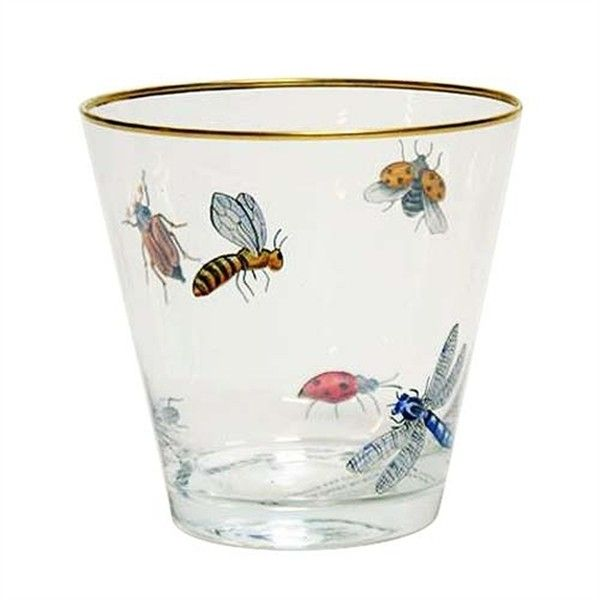 Branca Hand-Painted Gilt-Rimmed Insect Cache Pot found on Polyvore