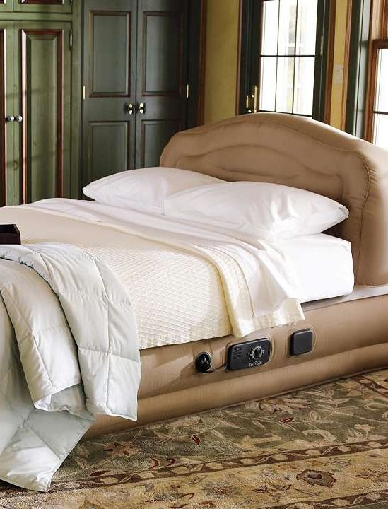 This Elevated Inflatable Bed With Headboard Gives Your Guests The Mattress Density They Prefer