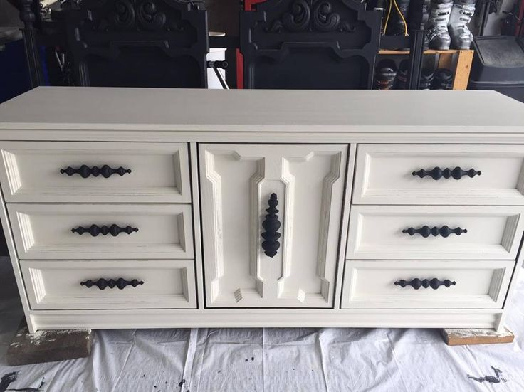 Shabby chic dresser makeover using Superior Paint Co. Ivory