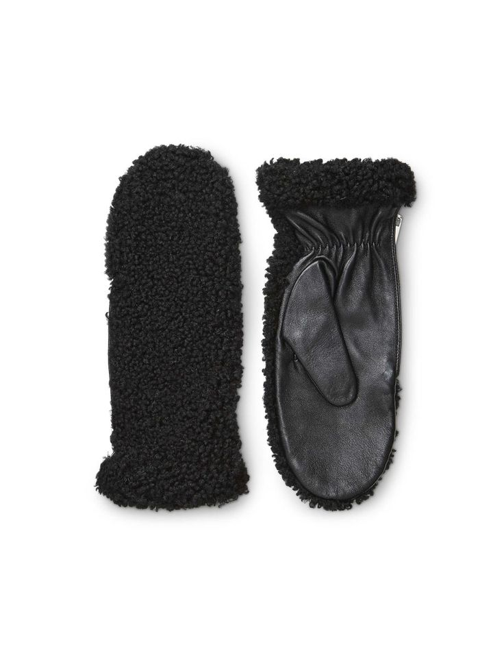 Lanzi gloves-Women's glove with faux-shearling on top side and nappa on the palm side. Features side zip closure and padding.