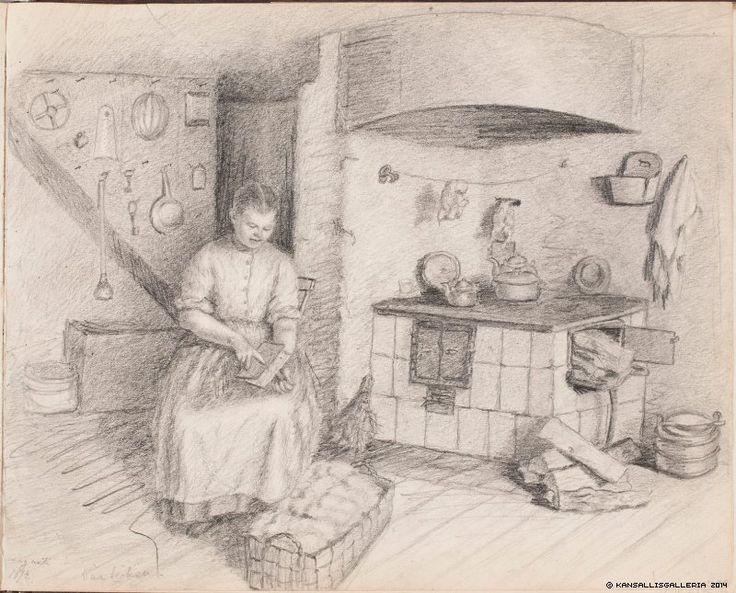 Maria Wiik (1853-1928) Näkymä Wiikin huvilan keittiöstä, karstaava nainen / View from the kitchen of the villa Wiik, woman carding [wool] 1874 - Finland