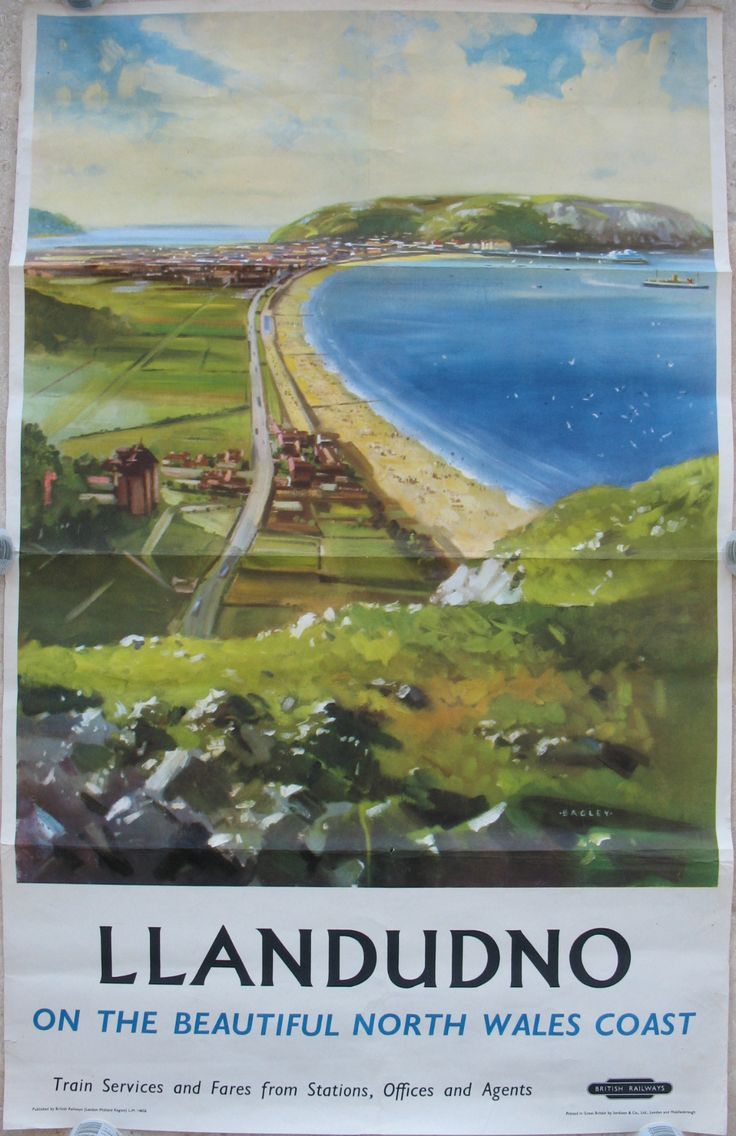 Landudno - on the Beautiful North Wales Coast, by Bagley. A wonderful view looking west along the sweep of sand from Little Orme's Head to Llandudno and the Great Orme in the distance, with a steamer having just left the pier (a regular sight in the 1950s). Original Vintage Railway Poster available on originalrailwayposters.co.uk