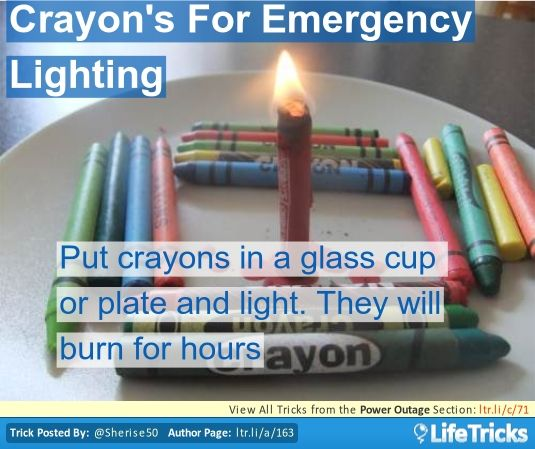 When candles are not available during an electrical storm or outage, place a crayon in a coffee cup or on a plate and light the tip with a match. Crayons burn for hours and are easily accessible in most homes.