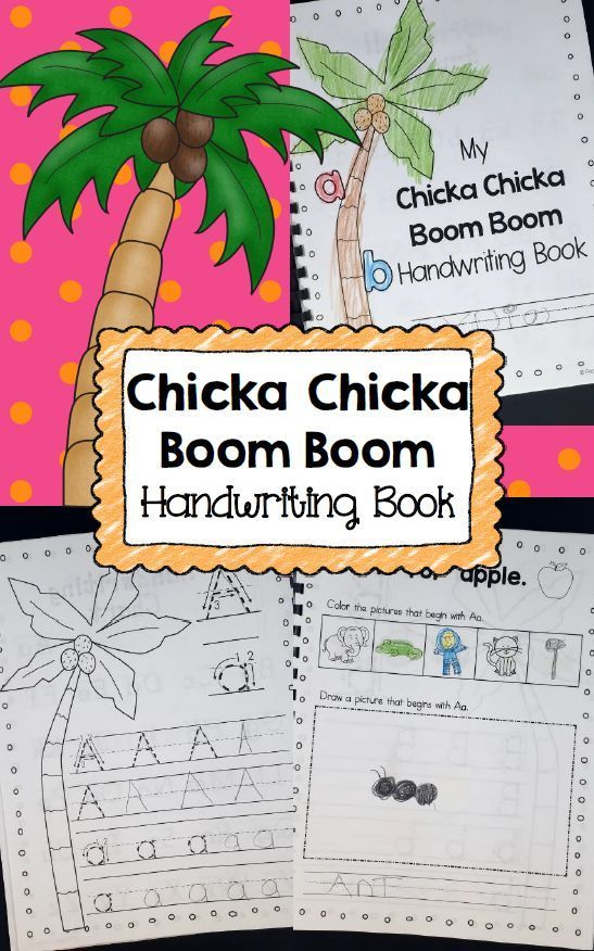 Practice handwriting from A to Z with this Chicka Chicka Boom Boom themed Handwriting Book for Kindergarten and PreK.