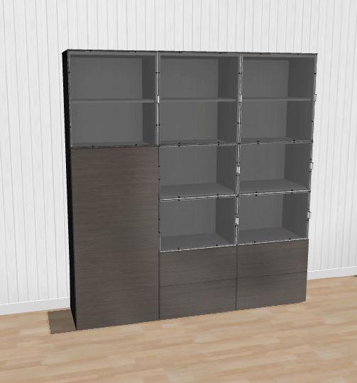 IKEA Bestå kirjahylly (3 isoa lasiovea, 4 pientä lasiovea, 4 laatikkoa ja 1 ovi)