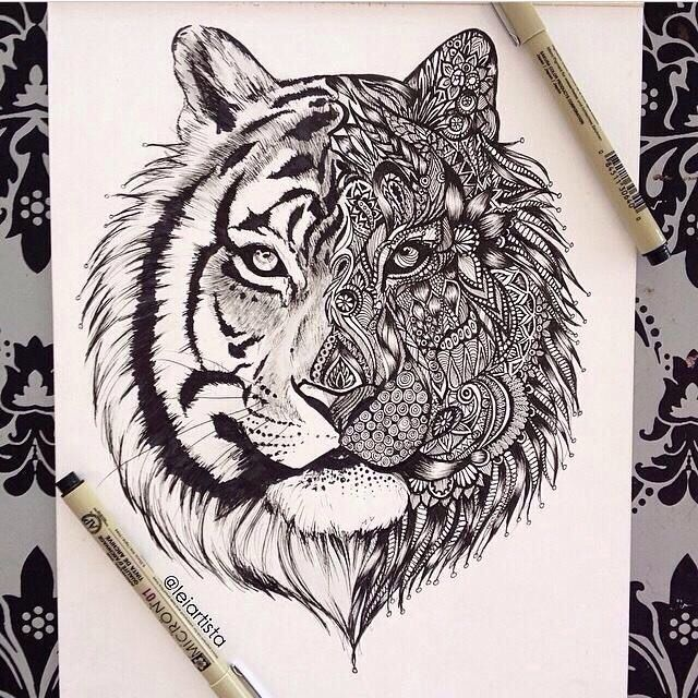 Potential back piece? - Ooh, I wonder what this would look with one half of the tiger's face being a wolf...