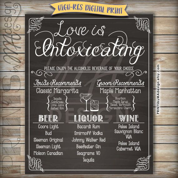 Wedding Bar Menu Love is Intoxicating Alcohol Selection, Wedding Reception Sign, Chalkboard Wedding Menu, Drink Menu, Custom DIGITAL PRINT