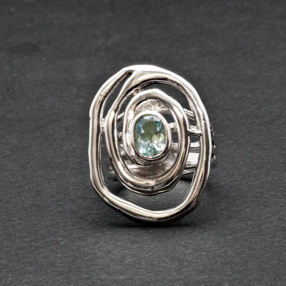 Blue Topaz Big Ring Silver Spiral Statement Ring by SunSanJewelry