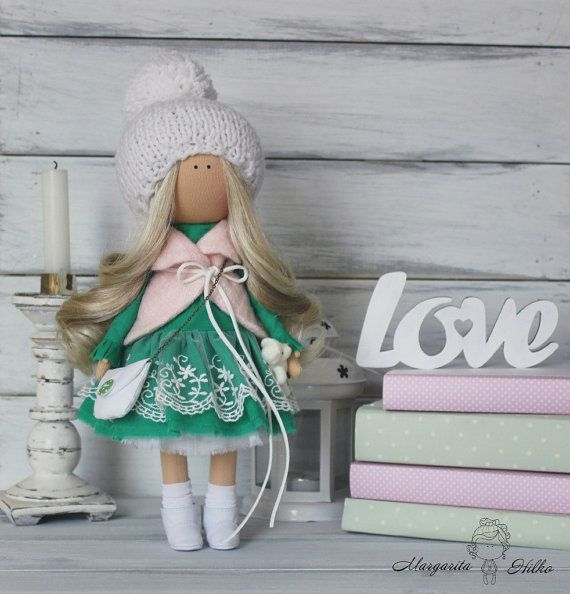 Hand made Soft doll, green, white colors, Baby doll, Doll girl, Collectable doll, Art doll, unique magic doll by Master Margarita Hilko