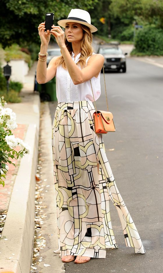 Stacy Keibler#039;s Maxi Skirt And Trilby Combo Looks Uber Pretty! 2013