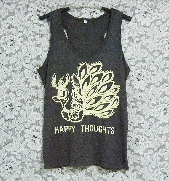 Happy thoughts tank top peacock shirt off-white by WorkoutShirts