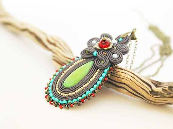 Colorful beaded pendant grey soutache pendant by pUkke on Etsy