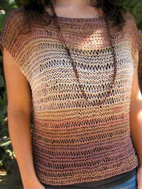 Patrón gratuito para tejer este veraniego top de punto con Katia Belice | Free pattern knitted top (Spanish)