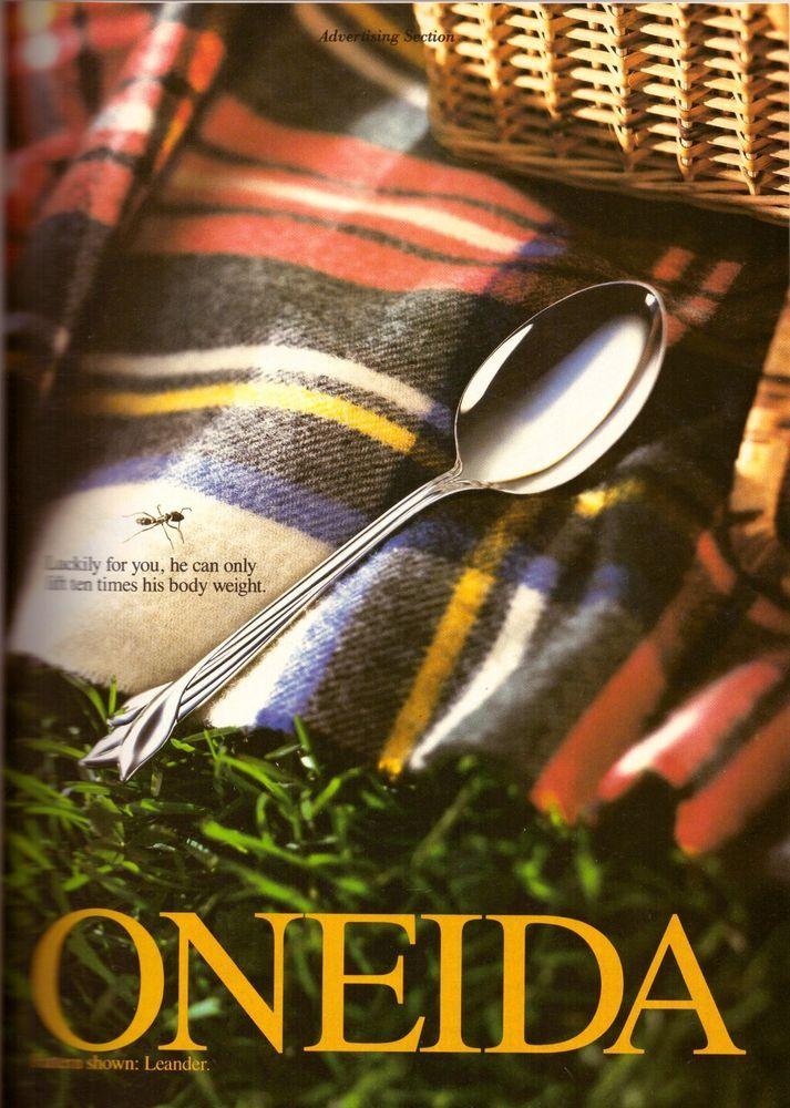 1993 Oneida Cutlery Silverware Magazine Print Ad Vintage Advertisement VTG 90s #Oneida