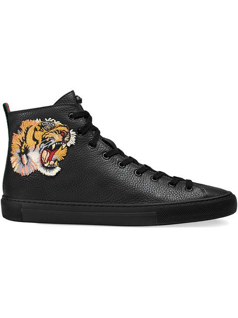 6e864598d045 GUCCI Leather High-Top Sneaker With Tiger.  gucci  shoes  tiger ...