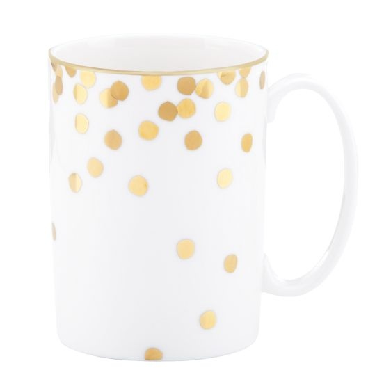 ticker tape mugs Kate Spade Love me some gold polka dots.