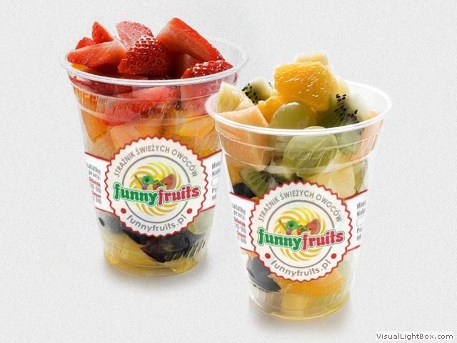 Banderole na opakowania sałatek ze świeżych owoców Funny Fruits