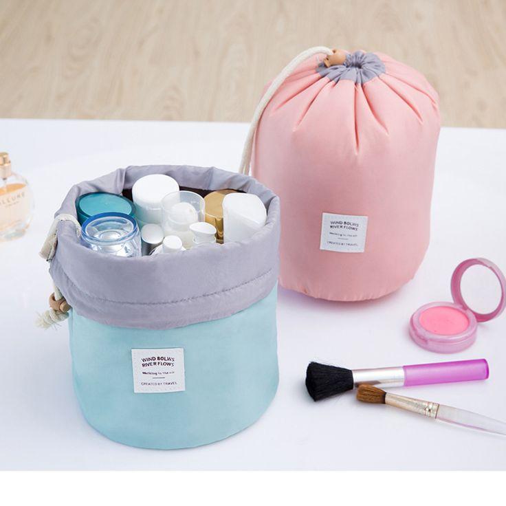 High Quality Barrel Shaped Travel Cosmetic Bag Nylon Wash Bags Makeup   Organizer Storage Bag Travel Cosmetic Bag High Capacity