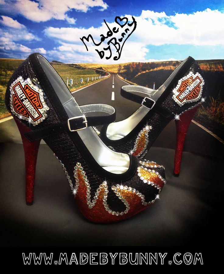 Harley Davidson inspired Flame Heels / Girl on Fire Hunger Game Glitter Bling Shoes  www.madebybunny.com